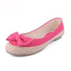 Bow Circle Head Flat Shoes