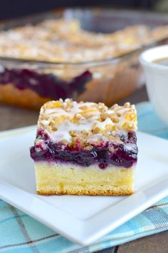 Blueberry Cream Coffee Cake has a buttery bottom with gorgeous sweet cream cheese and blueberries. Wonderful!