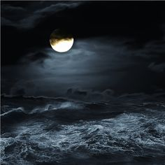Moon on a Dark and Stormy Night. Waves crashing in the Ocean. Fantasy Art