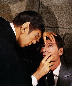"Spock (Leonard Nimoy) and Dr. McCoy (DeForest Kelley) - Star Trek: The Original Series ""The Return of the Archons"" (First Broadcast: February Star Trek 1966, Star Trek Tv, Star Wars, Star Trek Warp, Star Trek Images, Star Trek Original Series, Leonard Nimoy, Star Trek Universe, Old Tv Shows"
