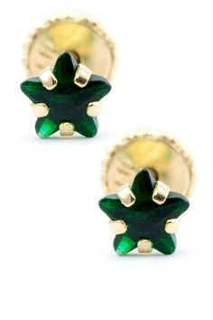 14K Yellow Gold Green CZ Star Stud Earrings on HauteLook
