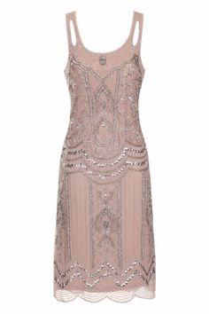BLUSH PINK SEQUIN CHARLESTON FLAPPER uk SIZES GATSBY dress 20's ART DECO VINTAGE