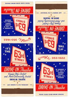 63rd Drive-In Theatre Kansas City Matchbook Cover