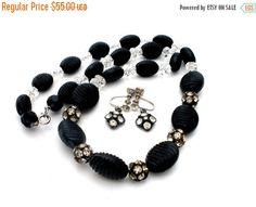 Sale Black Bead Crystal Necklace Earrings by TheJewelryLadysStore