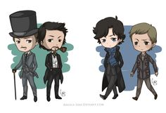 Sherlock Holmes Chibis by Angels-Leaf on DeviantArt - lovely, movie and BBC versions. The only thing is that Downey Jr is a bit too tall compared to his Watson. BUt what lovely pics. Sherlock Series, Sherlock Holmes Bbc, Sherlock Fandom, Moriarty, Benedict Cumberbatch, Sherlock Cartoon, Holmes Movie, Benedict And Martin, Johnlock