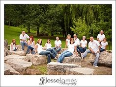 Large family posing - do we have a collections of rocks at kennett? ;) *i like jeans with white but it looks kinda summery