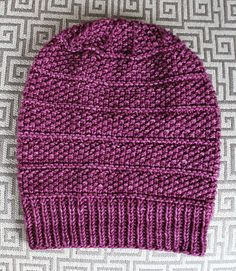 Seeds & Purls Beanie pattern by Jamie Sande The Seeds & Purls Beanie Hat has beautiful details. The seed stitch provides a delicate texture. Plus, a few bands of pu. Beginner Knitting Patterns, Loom Knitting, Knit Patterns, Knitting Ideas, Easy Knit Hat, Knitted Hats, Crochet Hats, Knit Beanie Pattern, Mittens Pattern