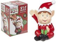a nuevo travieso elf 24 cm rojo pintado a mano dinero caja navidad