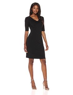 Connected Apparel Women's Solid Drape Neck Jersey Dress