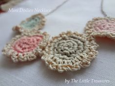 Mini Doilies Necklaces. Too cute for words! Thanks again, Little Treasures!