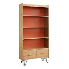 "Add contemporary style and storage to your home with the Iokaste Jamaica Avenue 69.63"" Bookcase. Four shelves and two drawers provide ample storage and display space. A bright orange adds a pop of color to the ash veneer frame. Iron legs keep the piece sturdy."