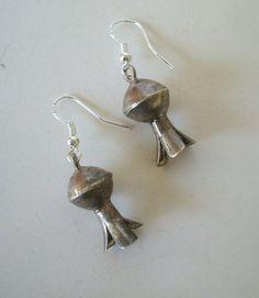 Vintage NAVAJO Sterling Silver DANGLE Squash Blossom EARRINGS Pierced.  TurquoiseKachina, $40.50