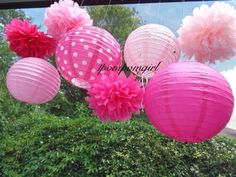 Tickled Pink   4 Tissue Paper Pom Poms/4 Decorated