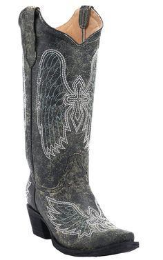 Corral® Circle G™ Women's Distressed Black with White Winged Cross Embroidered Snip Toe Cowboy Boots