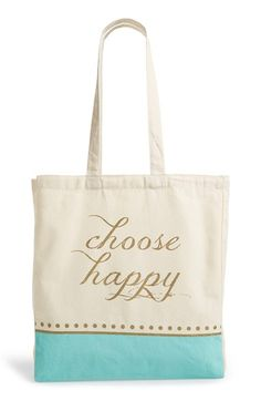 Cute tote for the gym! Tri-Coastal Design 'Choose Happy' Tote available at #Nordstrom