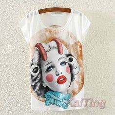 Free Shipping 2017 New Fashion Vintage Summer T Shirt Women Clothing Tops Animal Owl Cat Print T-shirt White Clothes