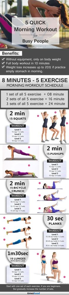 5 quick morning exercise in 8 minutes, especially design for busy people, Quick morning workout for women, Fast weight loss workout for beginners at home. #weightlossworkoutfast