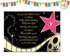 Hollywood Star, Movie Film Strip, Red Carpet Invitation, Hollywood Party, Red Carpet Birthday Party, Hollywood Invitation on Etsy, $12.00