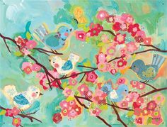 Rosenberry Rooms has everything imaginable for your child's room! Share the news and get $20 Off  your purchase! (*Minimum purchase required.) Cherry Blossom Birdies Canvas Wall Mural #rosenberryrooms