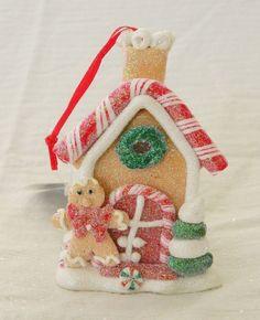 New Kurt Adler Gingerbread House  Ornament With  LED Light Red Vest