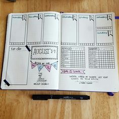 Weekly bullet journal layout with mood, water, & habit trackers.