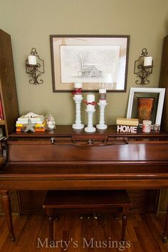 No Mantel? Decorate the piano! Vignette from Marty's Musings
