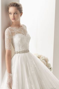 Sweetheart Neck Tulle With Lace Appliques Beading Belt Wedding Dress 2014 Bridal Gown #DIY  S