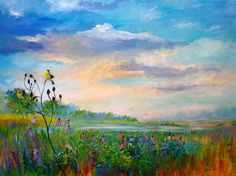 """Goldfinches On The Prairie"" is an original acrylic painting on a large 30""x 40"" canvas by Melissa Pierson."