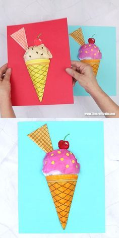Paper Crafts For Kids, Easy Crafts For Kids, Summer Crafts, Projects For Kids, Art For Kids, Diy Crafts, Ice Cream Crafts, Crafty Craft, 3d Craft