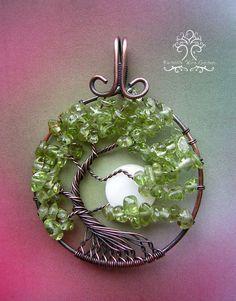 Peridot Tree of Life Wire Wrapped Pendant от RachaelsWireGarden