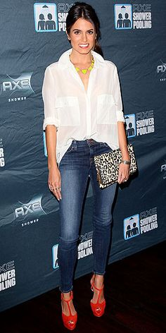 Steal this look: Nikki Reed's simple outfit features a crisp white button-up, dark jeans, bright shoes and statement necklace.