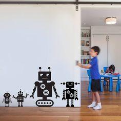 robot pack wall sticker decal by snuggledust studios | notonthehighstreet.com