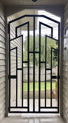 Simple Front Door Grill Design For House - Cleverkina Door Grill, Grill Door Design, Door Gate Design, Fence Design, Window Grill Design Modern, Modern Design, Dog Fence, Horse Fence, Brick Fence