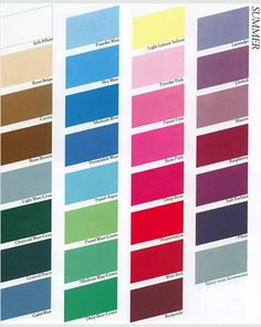"""Color palate for people categorized as """"Summers"""" from the book Color Me Beautiful"""