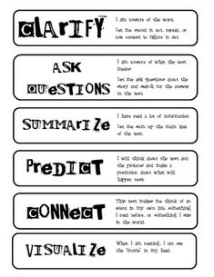 Reading Strategies Strips: Print the reading strategy strips on regular paper and attach them to construction paper strips or print them on colored card stock. Place them on a chicken ring or use a brad and have students use them while reading independently or in a small group.     There is one of each on the page: clarify, ask questions, summarize, predict, connect, and visualize.