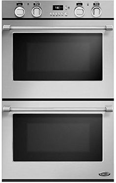 DCS Double Electric Wall Oven with cu. True Convection Ovens, Self-Cleaning, 10 Cooking Modes, 3 Adjustable Racks Each, 3 Halogen Lights Each and Included Cooking Probe and Bake Tray
