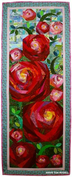"Look at My 2013 Quilt Cruise Workshops ""Secondhand Rose"". This is created by a male quilter and teacher, (they are not so common) Tom Russell. This is created by a male quilter and teacher, (they are not so common) Tom Russell. Scrappy Quilts, Mini Quilts, Patchwork Quilting, Applique Quilts, Quilting Projects, Quilting Designs, Quilt Modernen, Flower Quilts, Landscape Quilts"