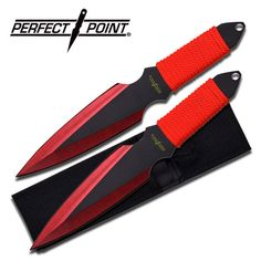 Perfect Point Two Piece Throwing Knife Set Red for sale from AllNinjaGear.com - Your #1 source for all things Shinobi.