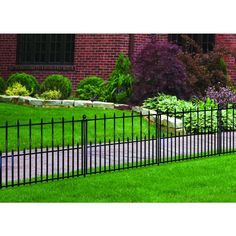 Shop No Dig  Empire 29-in x 38-in Black Powder Coated Steel Fence Panel at Lowe