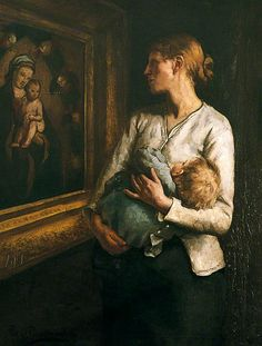 reginald bottomley(1856–1933), a mother and child looking at the virgin and child. oil on canvas, 115 x 86 cm. littlehampton museum, uk http://www.bbc.co.uk/arts/yourpaintings/paintings/a-mother-and-child-looking-at-the-virgin-and-child-69928