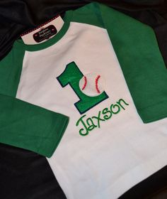 Items Similar To 1st Birthday Shirt Baseball Number 1 And Name Personalized Reglan Long Sleeve On Etsy