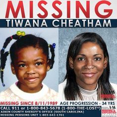 """Tiwana Cheatham #tiwanacheatham #tilwandacheatham Missing SinceAug 11, 1989 Missing FromAiken, SC DOBDec 4, 1980 Age Now35 SexFemale RaceBlack Hair ColorBlack Eye ColorBrown Height4'1"""" Weight70 lbs Age Progressed # Tiwana's photo is shown age progressed to 34 years. She was last seen at a convenience store near her home. At the time of her disappearance, Tiwana was wearing a white top, red flower print shorts and tennis shoes. Her hair was in braids. Tiwana's name may appear in NCIC as…"""