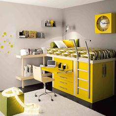 Cool Modern Loft Bed for Teen Bedroom Ideas in Colorful Schemes