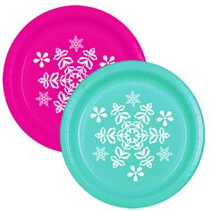 Click for larger picture of SNOWFLAKE TEAL-MAGENTA DESSERT PLATE PARTY SUPPLIES