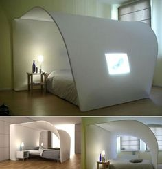 curved bed with a projection screen