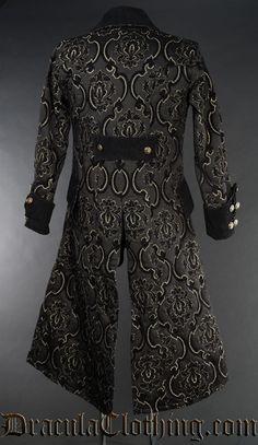Black Jacquard Pirate Coat - Coats - Gentlemens Clothing
