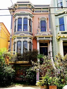 Haight Ashbury Victorian by Demetrios. The picture perfect SF house Living In San Francisco, San Francisco City, California Dreamin', Northern California, Pink Houses, Old Houses, Cabana, Victorian Homes, Victorian Townhouse