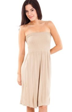 Strapless Seamless Beige Tube Dress with Smocking Top
