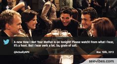 March 18th, 2013: More than 2200 retweets from fans watching How I Met your Mother, almost the end of the season and the suspense is intense for viewers - #Seevibes #TopRetweet #Twitter #HIMYM - https://twitter.com/ActuallyNPH/status/313797273895186432