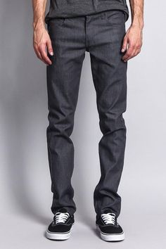 Our skinniest fit, perfect for the guy who's on top of his style game. Choose a darker wash to dress up your look, or go casual with a pop of color. Whichever way you choose to wear it, you can't go wrong.- Brand: Victorious- 97% Cotton, 3% Spandex- Added stretch for maximum comfort- Sits below waist, extra slim through thigh, narrow leg opening- Classic five-pocket styling- Zipper fly, button closure- Machine-wash cold inside-out with like colors, line dry- Imported, Designed in Los Angeles Raw Raw Denim, Denim Jeans, Skinny Fit, Color Pop, Thighs, Charcoal, Slim, Legs, Fitness
